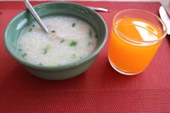Pork Soup and orange juice royalty free stock photos
