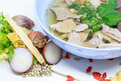 Pork soup. And herb,vegetables is very delicious and very beautiful Stock Images