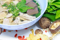Pork soup. And herb,vegetables is very delicious and very beautiful royalty free stock photos