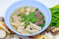 Pork soup. And herb,vegetables is very delicious and very beautiful Royalty Free Stock Photo