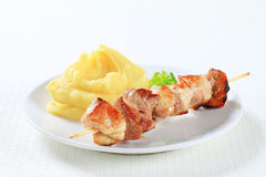 Pork souvlaki with mashed potato Stock Images