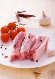 Pork sparerib raw with spices on plate Stock Photo