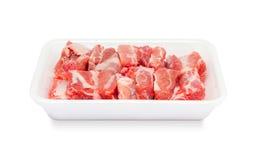 Pork spareribs raw in tray foam Stock Photo