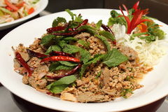 Pork spicy salad.Traditional Thai food.Close up. Royalty Free Stock Photography