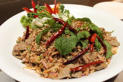 Pork spicy salad.Traditional Thai food.Close up. Stock Image