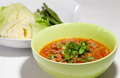 Pork spicy sauce.Thai traditional food, Thai call Nam prik ong Royalty Free Stock Image