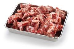 Pork spine on butcher tray. Pork spine for gamjatang(pork bone and potato soup, korean hotpot cuisine Stock Photo