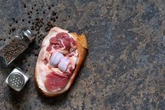 Pork steak with bacon with salt and pepper on the kitchen stone table. View from above. Pork steak with bacon with salt and pepper on the kitchen stone table royalty free stock photo