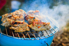 Pork steak on a BBQ grill Royalty Free Stock Photo