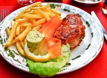 Pork steak on beautiful plate Royalty Free Stock Photo
