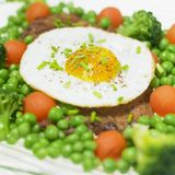 Pork steak with egg Royalty Free Stock Photography