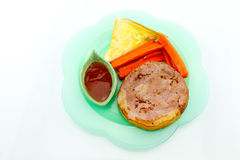 Pork steak, french fries, ketchup, bread, white background. Pork steak, french fries, ketchup, bread in the dish on a white background Stock Photos