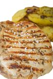 Pork steak with fried potatoes Royalty Free Stock Photo