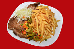 Pork steak and fries menu, fast-food Royalty Free Stock Image