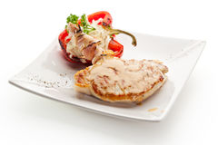 Pork Steak. Grilled Foods - BBQ Pork with Stuffed Bell Pepper Stock Photo