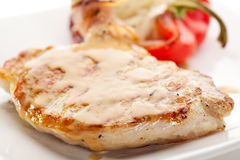 Pork Steak. Grilled Foods - BBQ Pork with Stuffed Bell Pepper Royalty Free Stock Image
