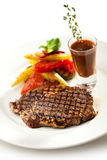 Pork Steak. Grilled Foods - BBQ Pork with Vegetables Royalty Free Stock Photography