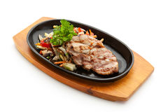 Pork Steak. Grilled Foods - BBQ Pork with Vegetables Stock Image