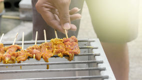 Pork steak meat on bbq grill pan. Stock Image