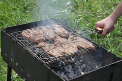 Pork steak prepared on Barbecue grill Royalty Free Stock Photography