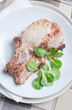 Pork steak with salad Stock Photo