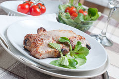 Pork steak with salad Royalty Free Stock Image