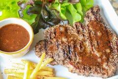 Pork steak. This is pork steak with salad Stock Photography