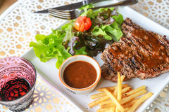 Pork steak. This is pork steak with salad Stock Photos