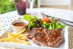 Pork steak. This is pork steak with salad Royalty Free Stock Photo
