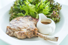 pork steak with salad Royalty Free Stock Image