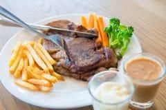 Pork steak with sauce Kuroda Abu. Ta delicious Royalty Free Stock Photography