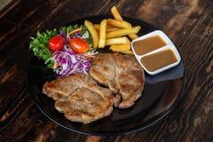 Pork Steak set royalty free stock photo