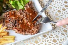 Pork steak. This is pork steak on the table Royalty Free Stock Photos