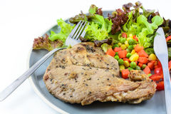 Pork steak with vegetable Stock Photo