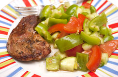 Pork steak and vegetables Royalty Free Stock Image