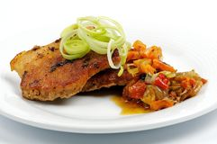 Pork steak with vegetables Royalty Free Stock Photos