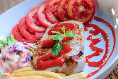 Pork steak with vegetables Royalty Free Stock Image