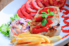 Pork steak with vegetables Royalty Free Stock Photography