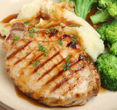 Pork Steak with Vegetables & Gravy Stock Photos