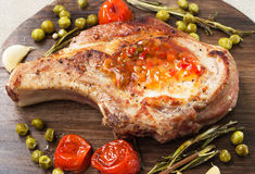 Pork steak with vegetables Stock Photography
