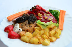 Pork Steak With Morels Served On A Plate Royalty Free Stock Image