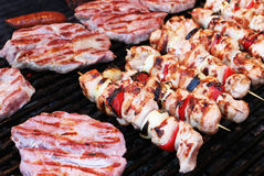Pork steaks and skewers Stock Photo