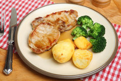 Pork Steaks with Vegetables & Gravy Stock Photography