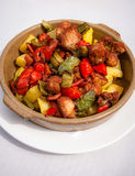 Pork stew. With potatoes and green and red peppers Royalty Free Stock Photography