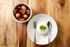 Pork stew with egg and rice. Royalty Free Stock Photography
