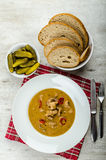 Pork stew and homemade bread and pickles Royalty Free Stock Photography