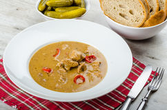 Pork stew and homemade bread and pickles Royalty Free Stock Photo