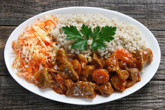 Pork stew with pearl barley Royalty Free Stock Photography