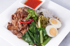 Pork stew with rice and vegetable,Thai fast food Stock Photo