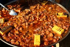 Pork stew with sausage cut pieces Royalty Free Stock Photography
